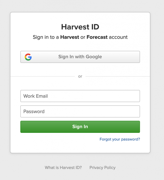 A screenshot of the getharvest.com login form.