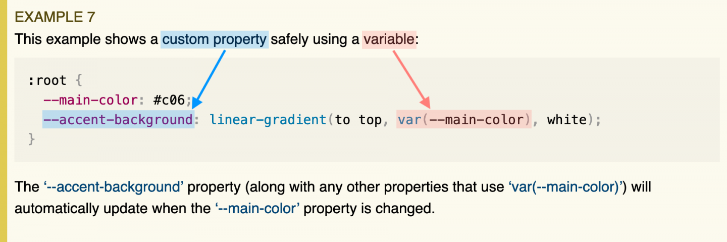 A screenshot of the CSS spec highlighting the distinction between a custom property and a variable.
