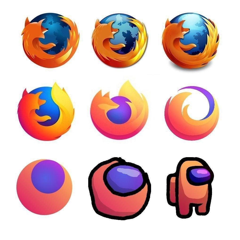 A grid showing different iterations of the Firefox logo, simplifying over time. The last three slowly morph into an Among Us character.