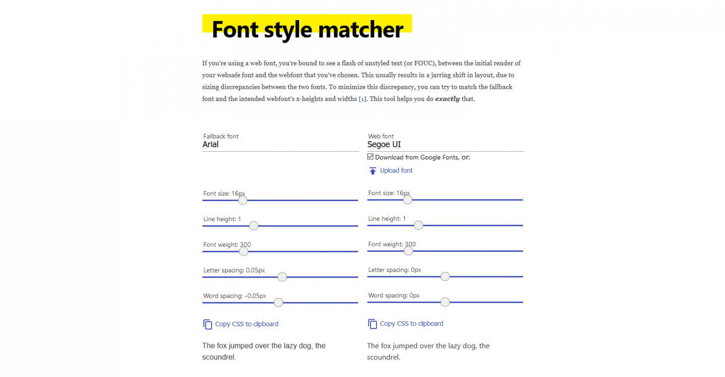 A screenshot of the font style matcher, displaying various sliders for CSS font properties for two different fonts.