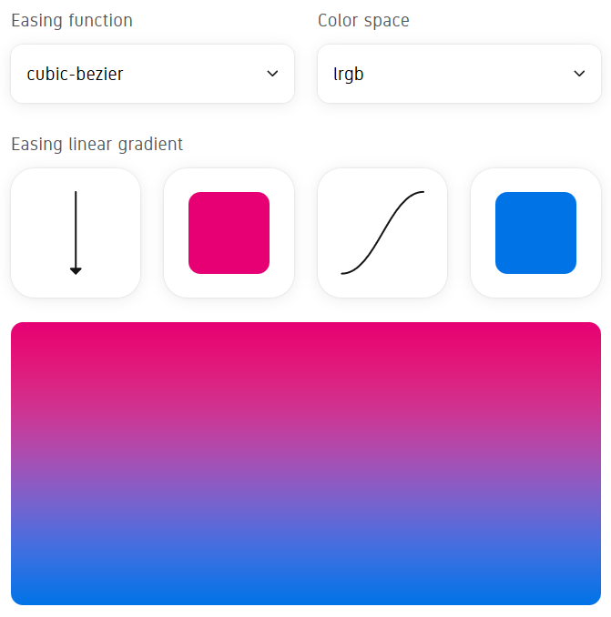 A screenshot of the gradient easing generator found at https://larsenwork.com/easing-gradients/