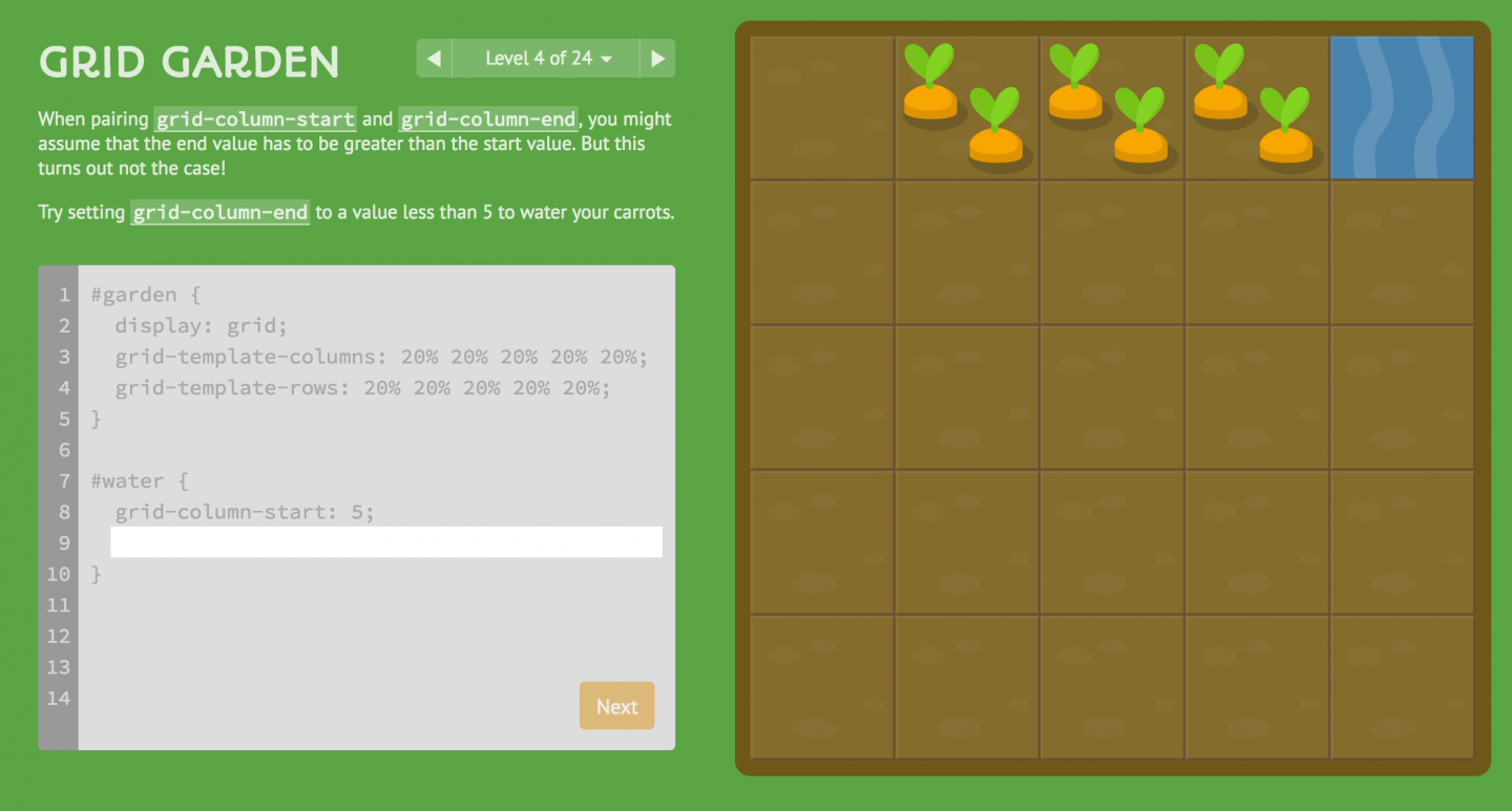 A screenshot of the Grid Garden game, showing a code editor and help on the left and a grid on the right with cartoon carrots and water.