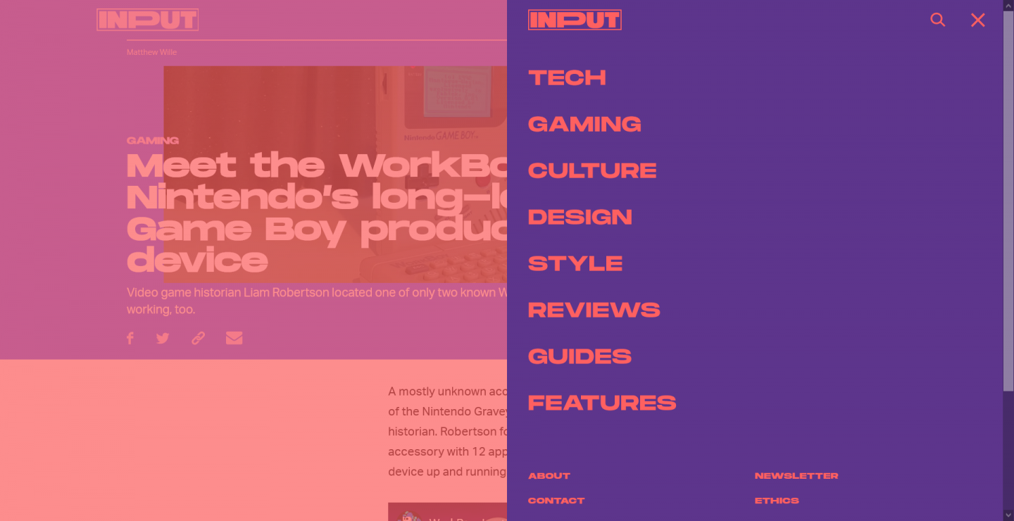 A screenshot of the inputmag.com menu and logo, showing very blocky and bold typography and colours.