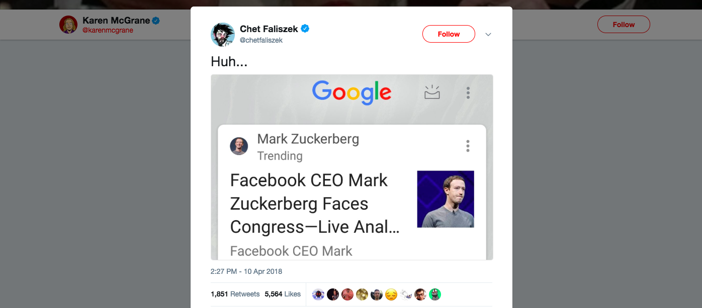 "A screenshot with a headline truncating ""analysis"" to ""anal"" regarding Mark Zuckerberg."