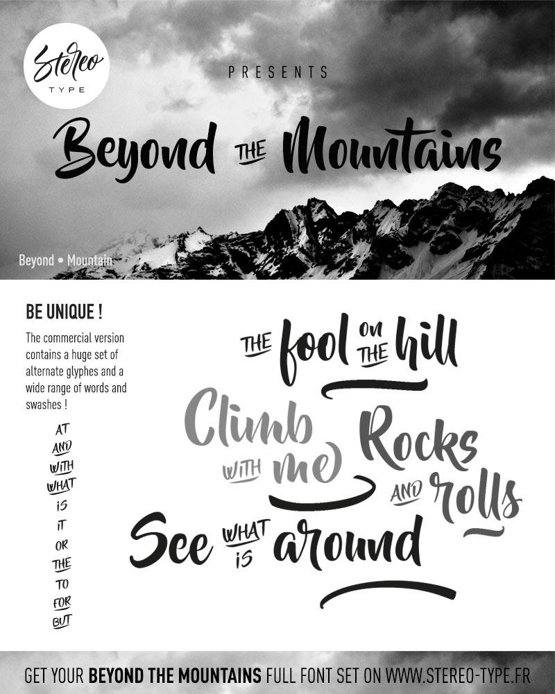 A preview of the Beyond The Mountains font face against a greyscale photo of a mountain.