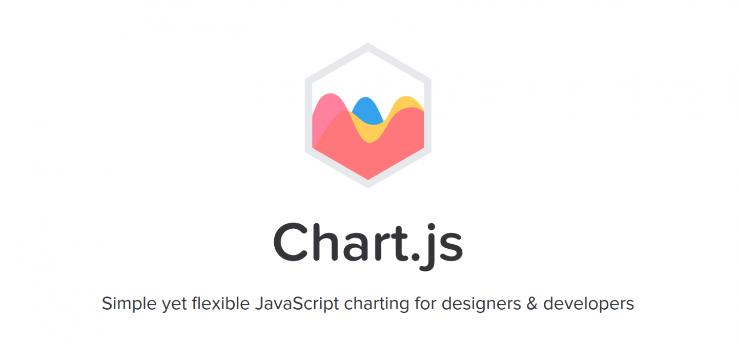 "The header of the Chart.js website, with the text ""Chart.js - Simple yet flexible JavaScript charting for designers & developers"", along with the logo, stylized overlapping wave-like charts within a hexagon."
