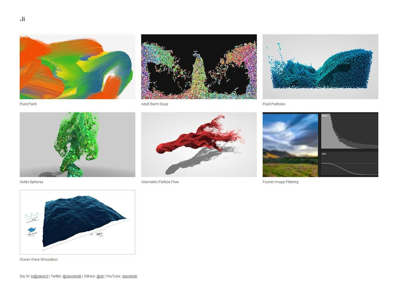 A screenshot of David Li's site, with a grid of thumbnails of their various WebGL demos.