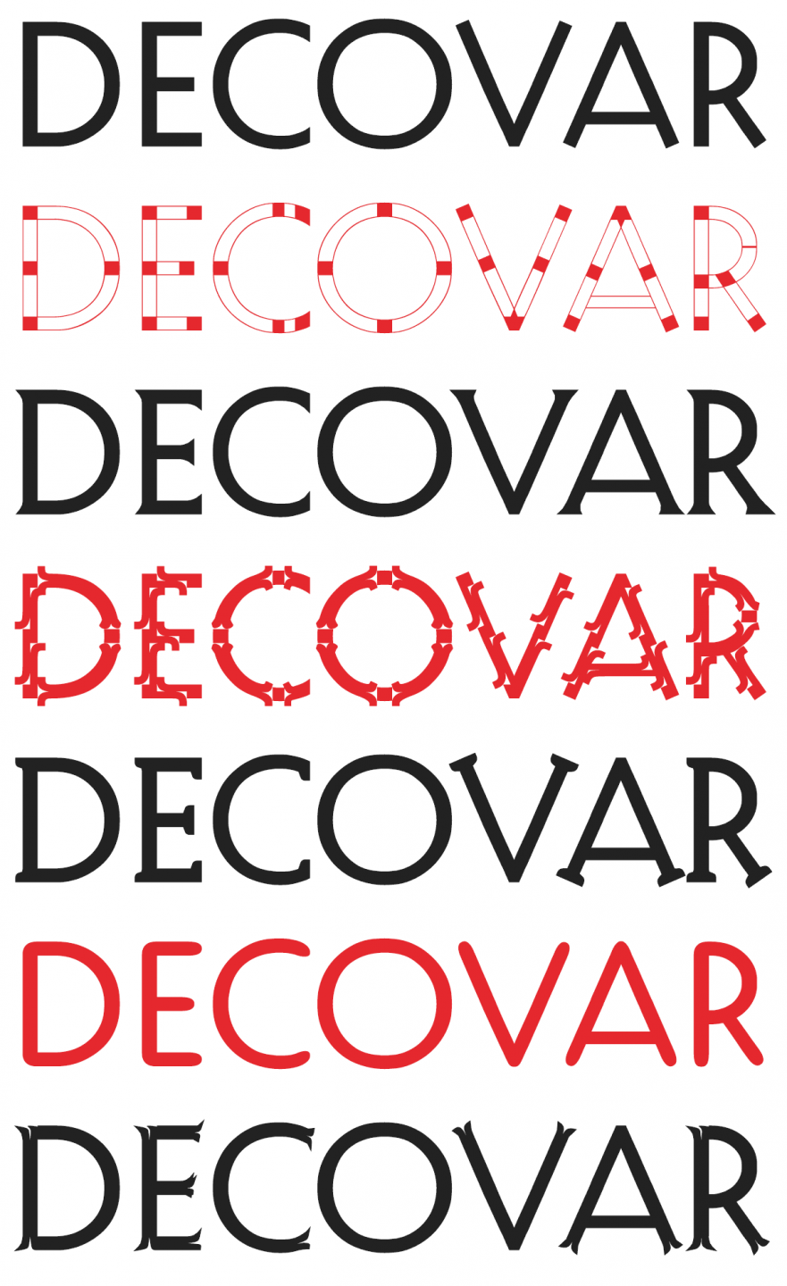 Samples of the DECOVAR font in various styles.