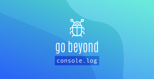 "Promo art for the Firefox Debugger Playground: a styled insect with the words ""go beyond console.log"" below it."