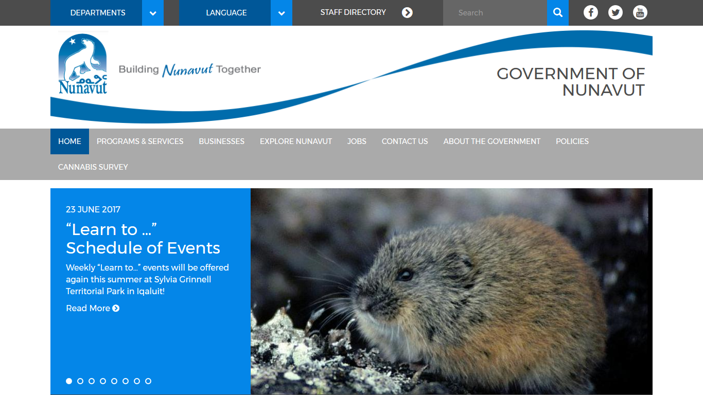 A screenshot of the Government of Nunavut home page.