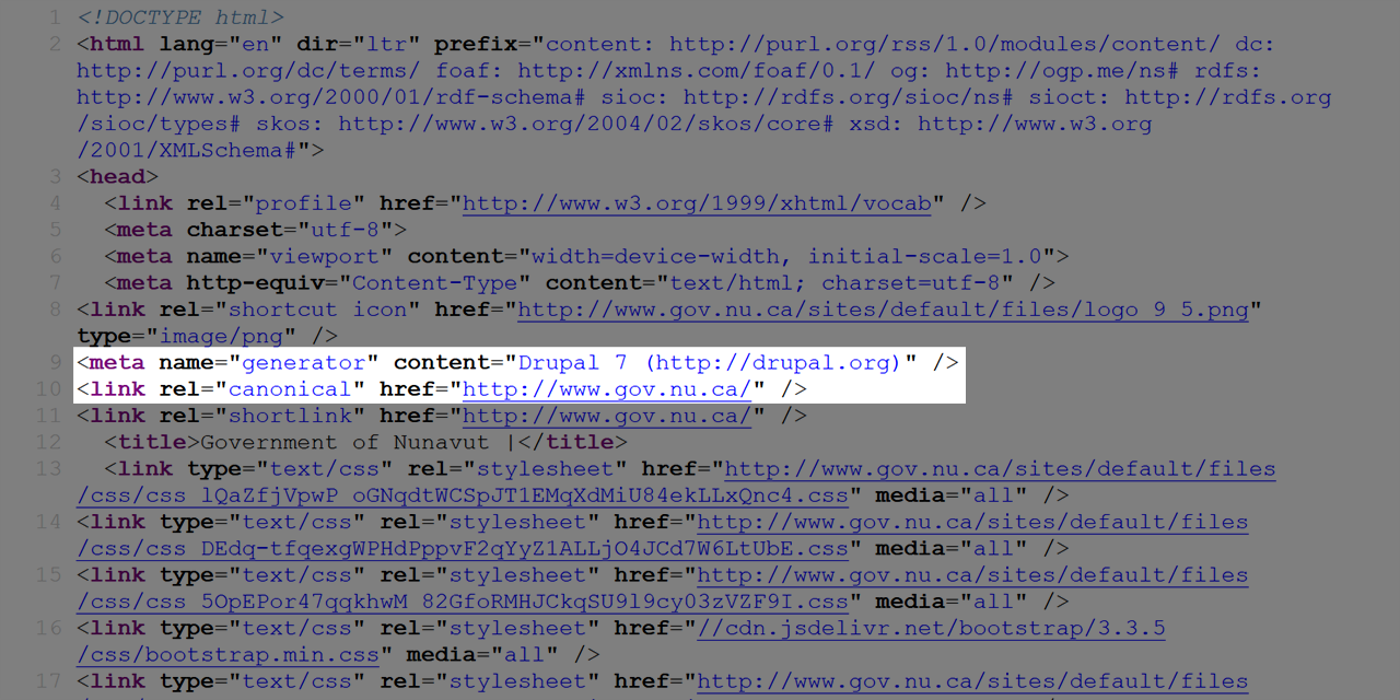 A screenshot of the HTML source of the Goverment of Nunavut home page, highlighting the generator meta tag, which indicates Drupal 7.
