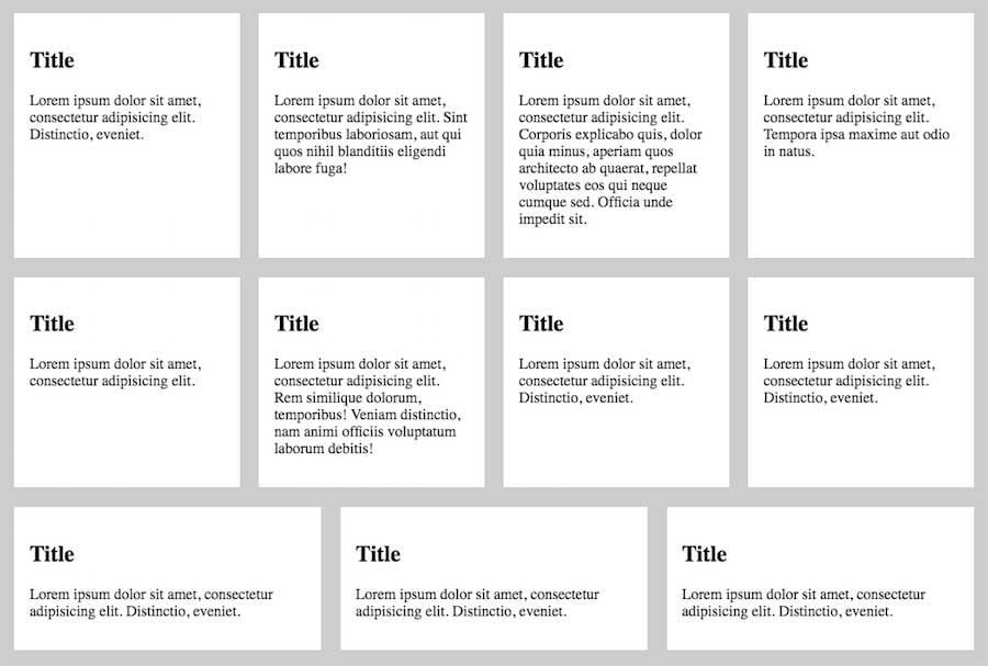 A wrapped grid of flexbox items. The first two rows have four items each, stretching to the full width of the container. The third row only has three items, but they also stretch to the available space.