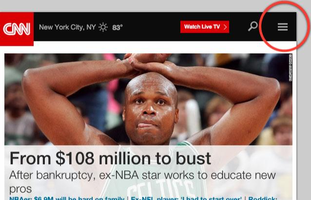 A screenshot of the CNN website with the hamburger menu circled.