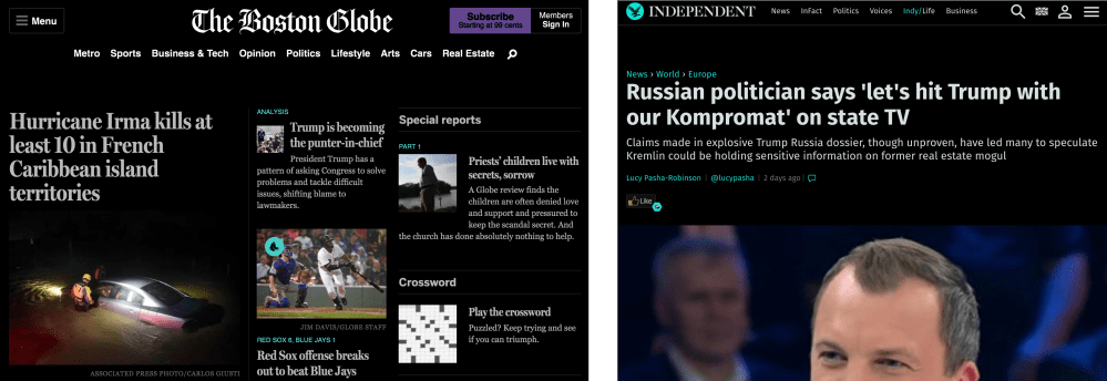 Screenshots of The Boston Globe and The Independent with the CSS invert filter applied.