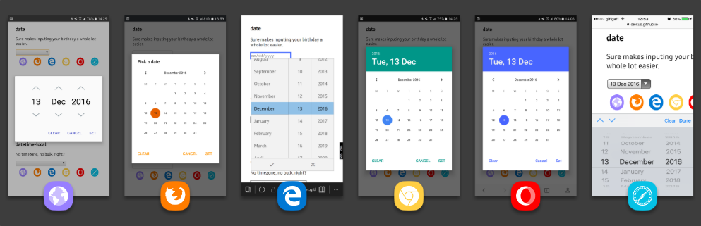Screenshots of the date picker interface in different mobile browsers: Samsung Internet, Firefox, Edge, Chrome, Opera, and Safari.