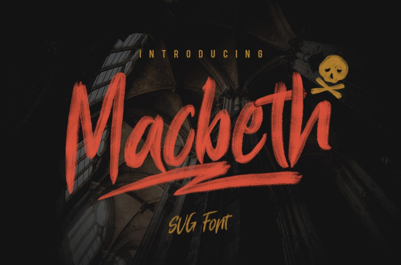 A preview of the Macbeth font face.