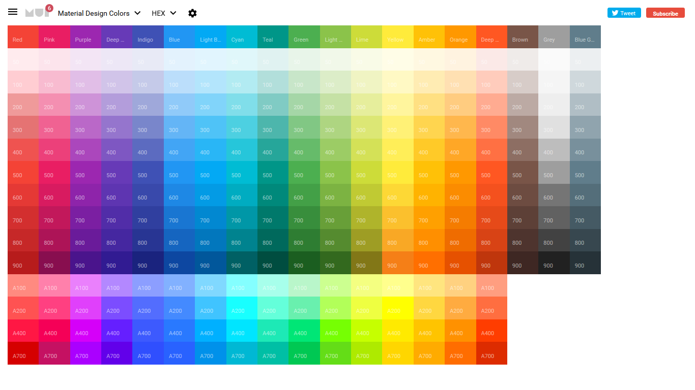 A grid of Material Design colour swatches.