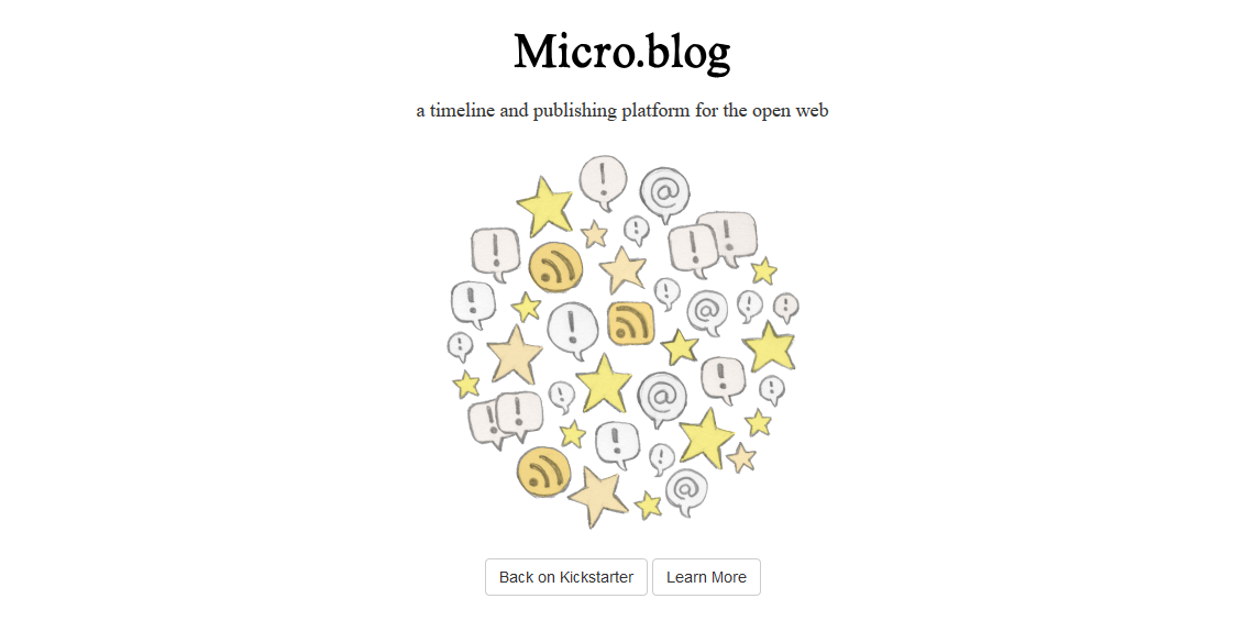 A screenshot of the Micro.blog home page, with a swirling jumble of icons