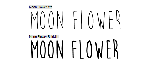 A preview of the Moon Flower font face.