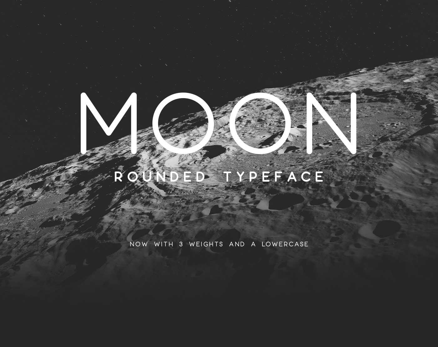 A preview of the Moon font face against a greyscale photo of Earth's moon's surface.