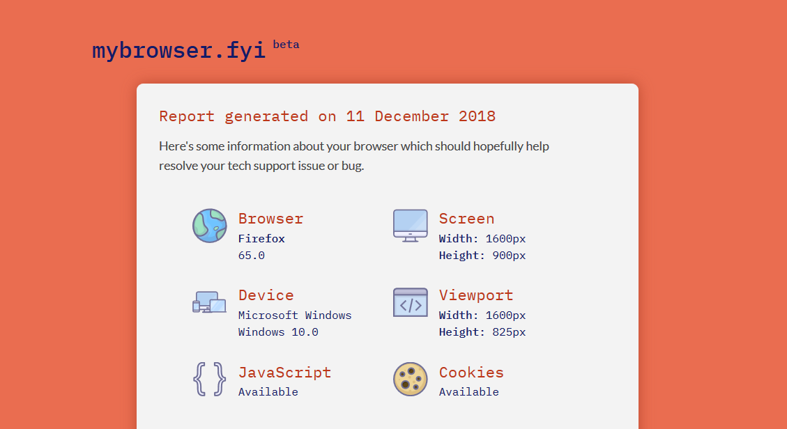 A screenshot of the My Browser site, displaying some detected browser features.