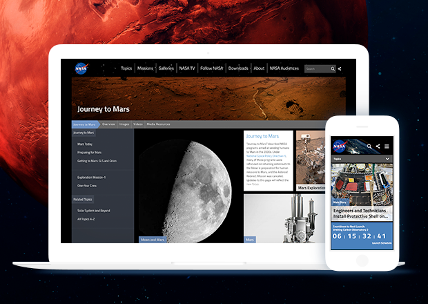 Desktop and mobile views of the NASA.gov home page.