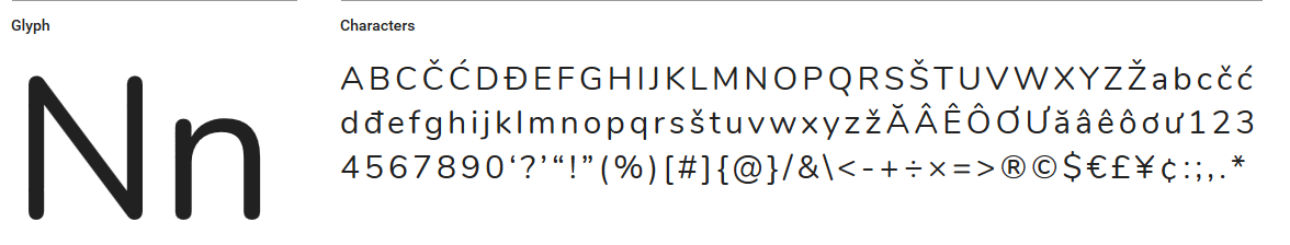 A sample of the Nunito font face.
