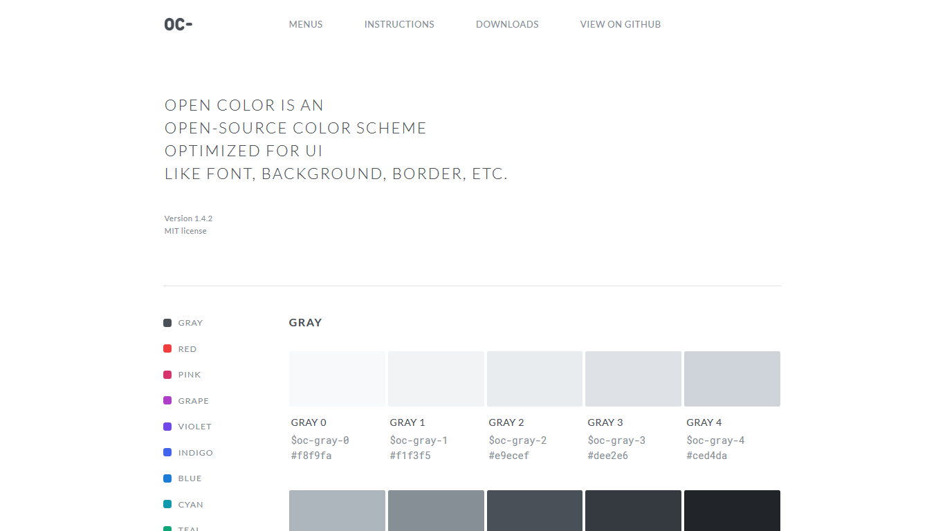 A screenshot of the Open Colour home page, showing several grayscale and colour samples/swatches.