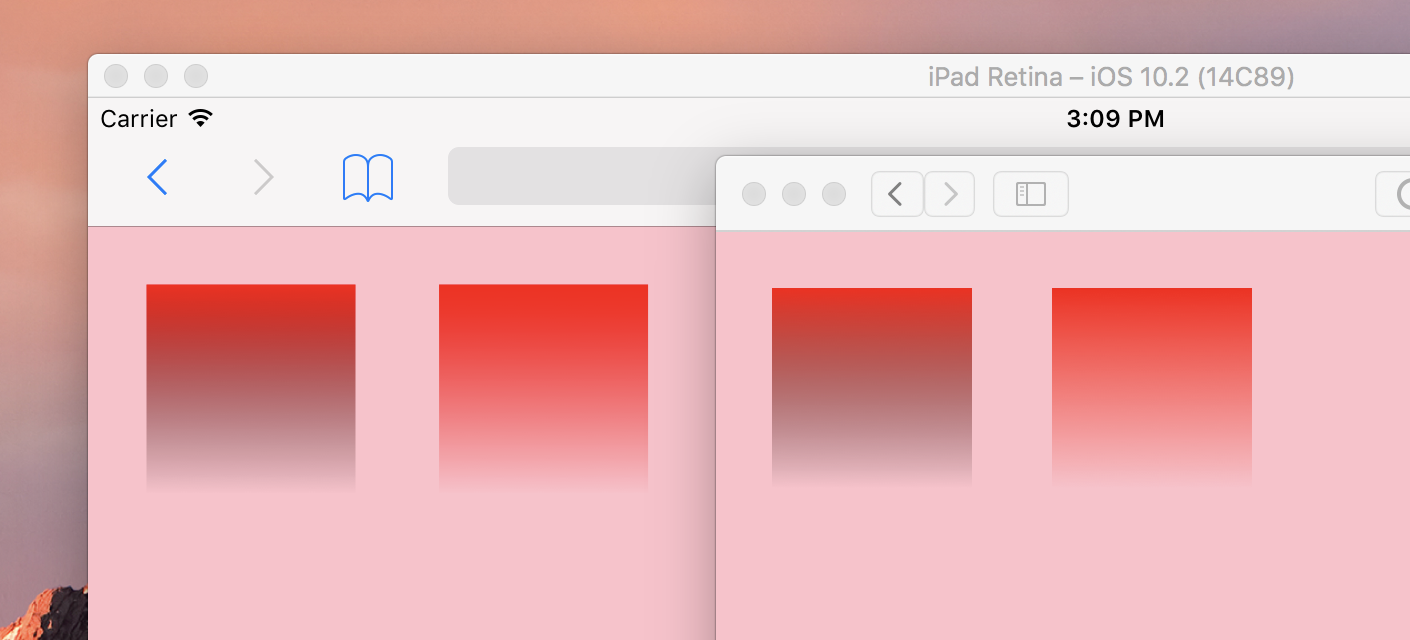 The same test page as before, viewed in both the iOS simulator version of Safari, and the macOS version of Safari. The two rectangles, each with a gradient background colour are different this time. The red in the rectangle on the left fades from red to black, as it fades to transparent, which appears to be a bug. The rectangle on the right fades to transparent while still maintaining the red colour, as expected.
