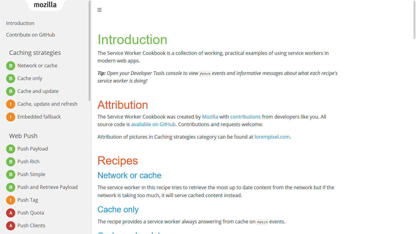 A screenshot of the ServiceWorker Cookbook main page.