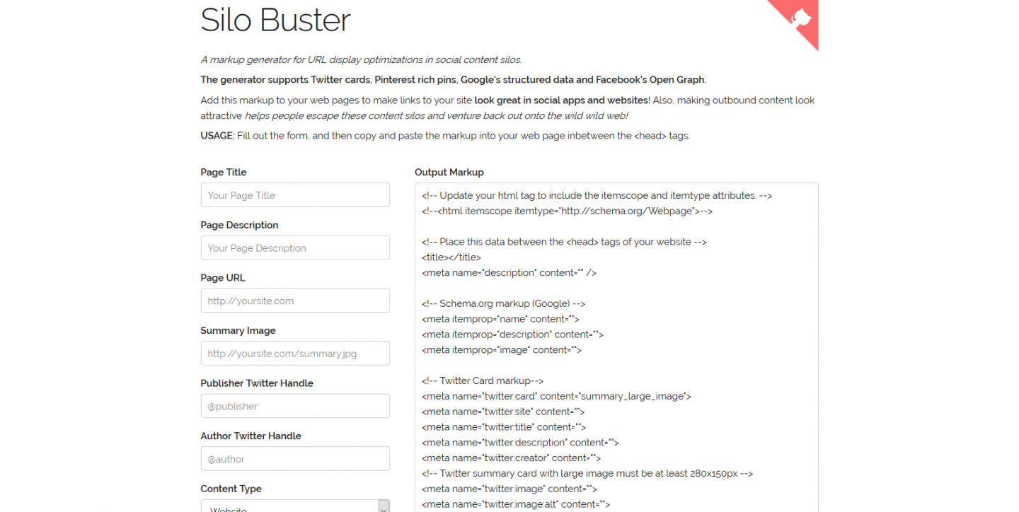 A screenshot of the Silo Buster page and form, with fields for many aspects of what to display on social networks when sharing your site.