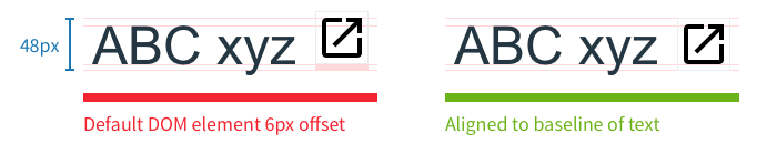 A demonstration of how to align icons to the font's baseline.