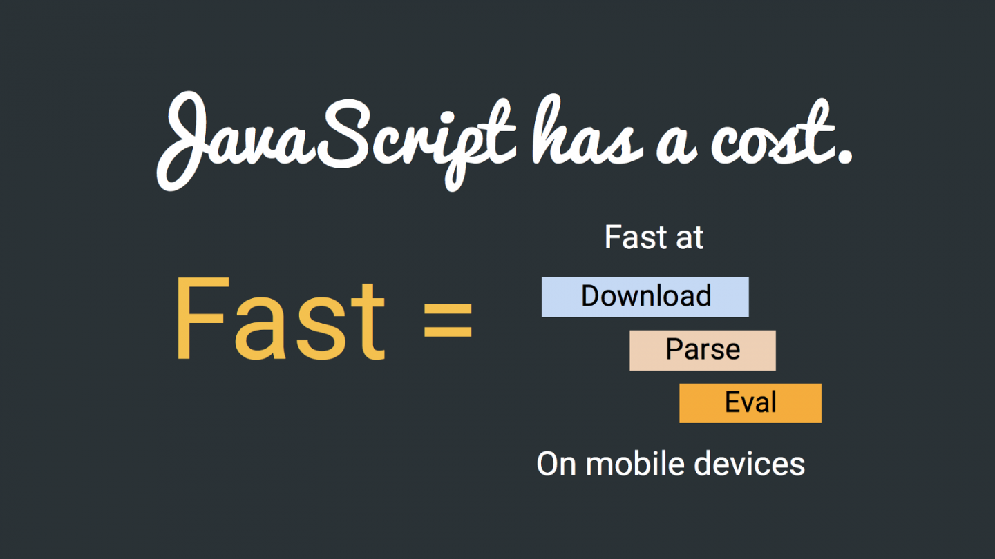 An infographic showing that being fast means quick downloading, parsing, and evaluating JavaScript on mobile.