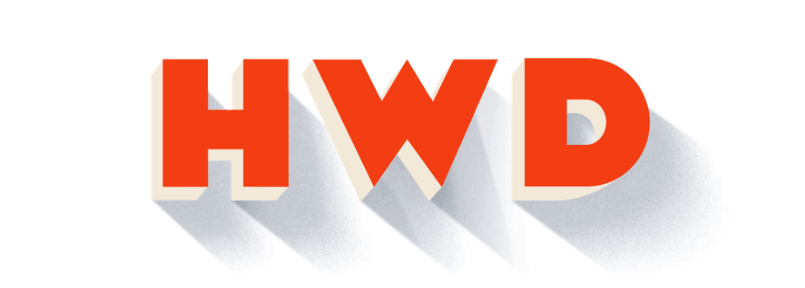 "A stylized orange ""HWD"" with a long shadow."