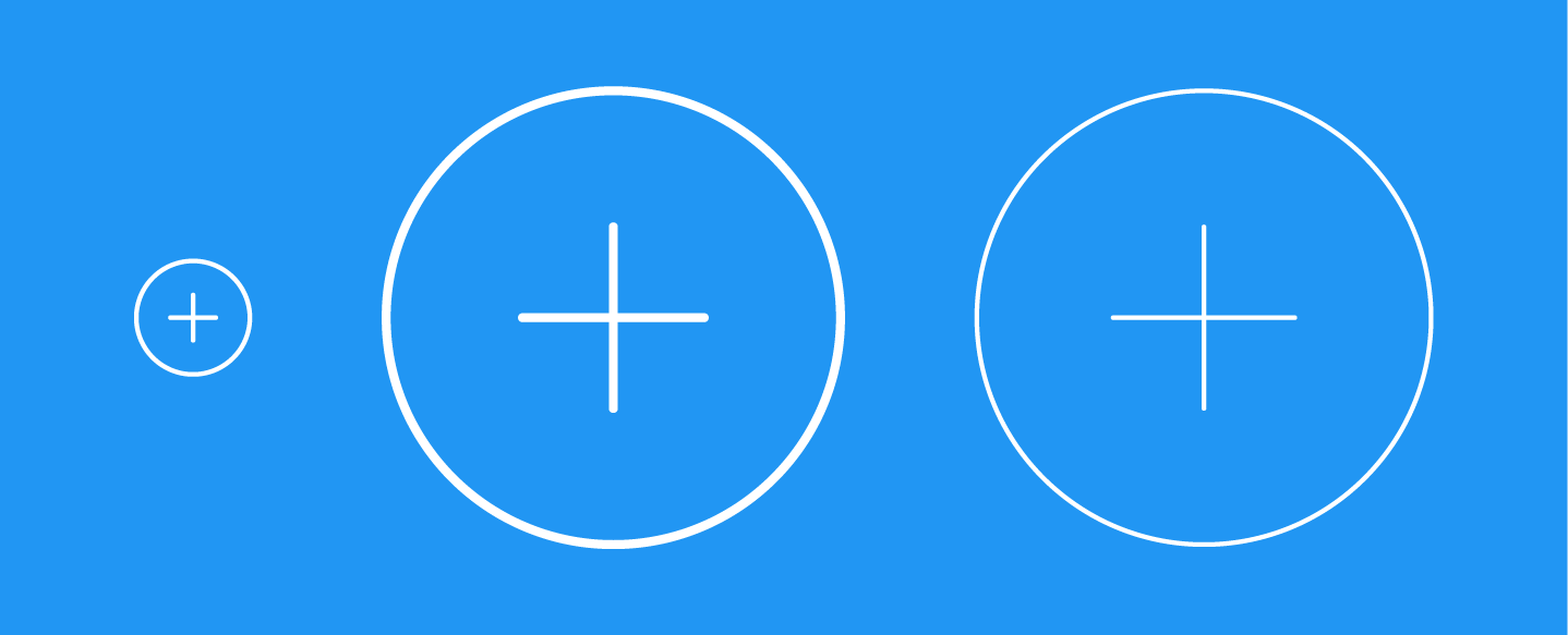 Three icons: one small, one enlarged, with stroke enlarged to match, and one enlarged with the stroke the same width as the original small version.