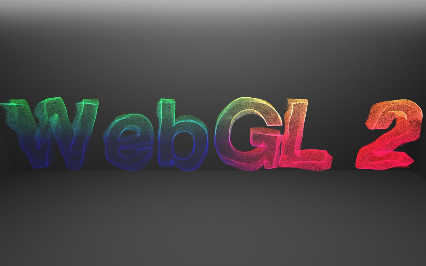 "A screenshot of the demo linked to below. Multi-colour particles in a rainbow spectrum spell out the text ""WebGL 2""."