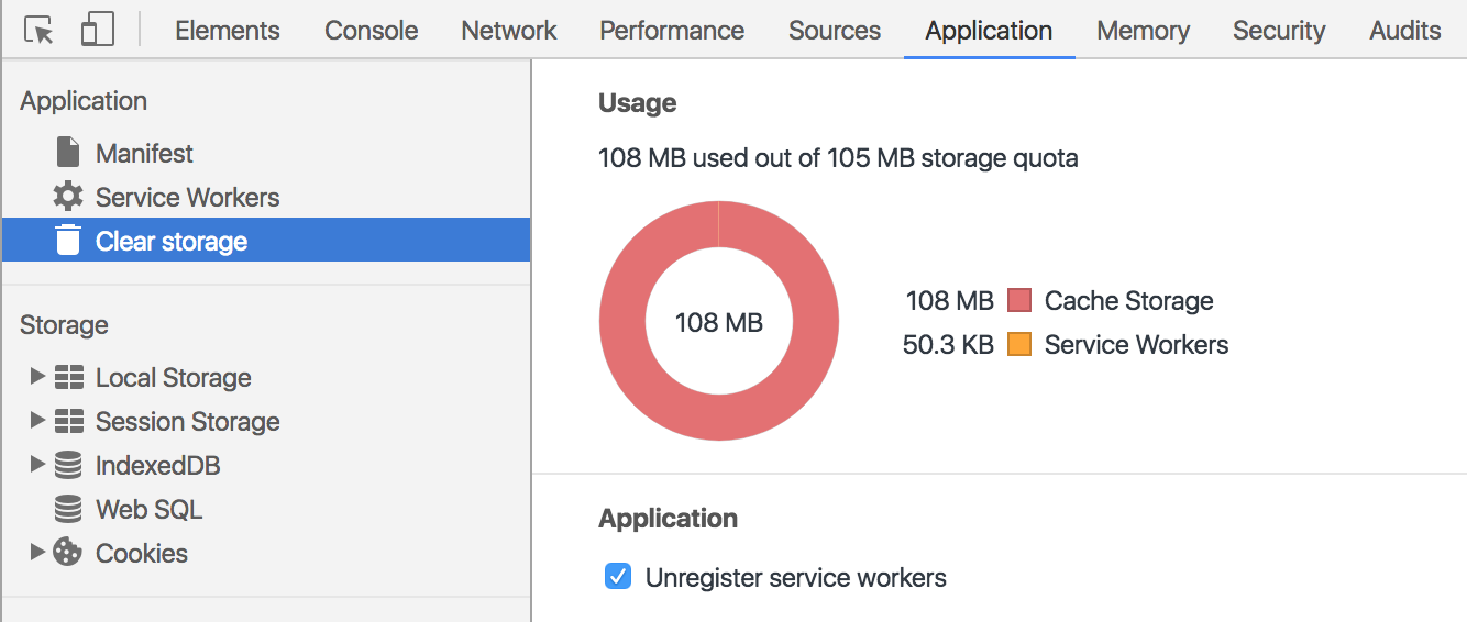 Chrome DevTools showing over-capacity cache storage.