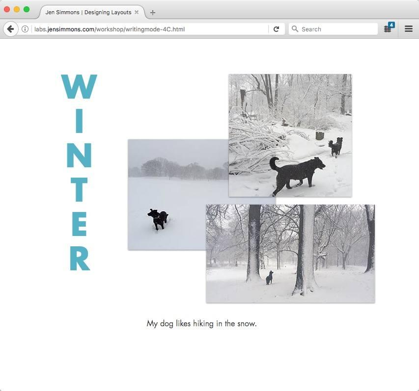 "A collage of photos of a dog on the right, with the text ""winter"" running down the left side, with letters stacked one on top of another."