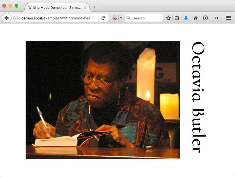 "A screenshot of a page featuring a photo of Octavia Butler, with the text ""Octavia Butler"" running down the right edge, starting at the top and going down the page."