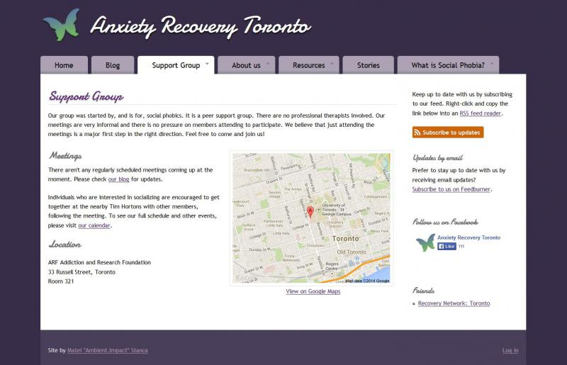 Screen capture of the Anxiety Recovery Toronto support group page