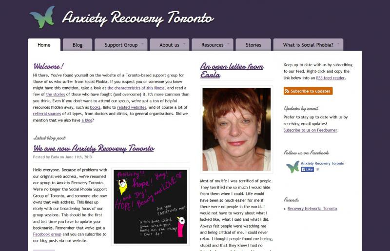 Screen capture of the Anxiety Recovery Toronto home page