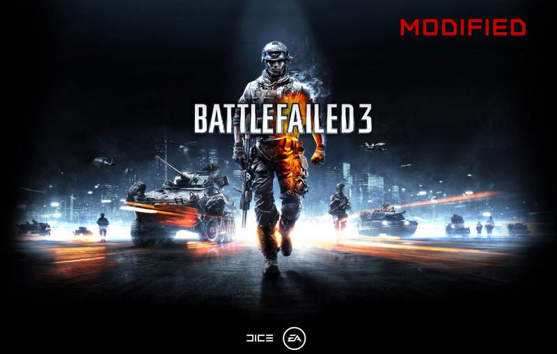 "Battlefield 3 promotional image, with the logo reworded to spell ""Battlefailed 3"""