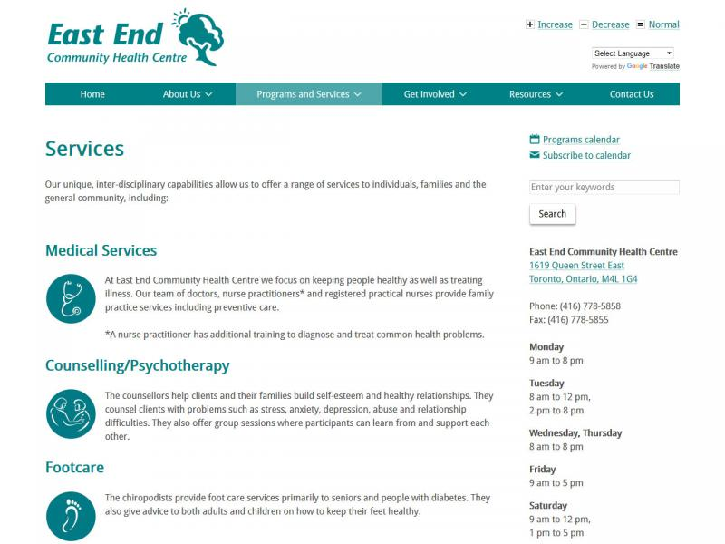 "Screen capture of East End Community Health Centre ""Services"" page"