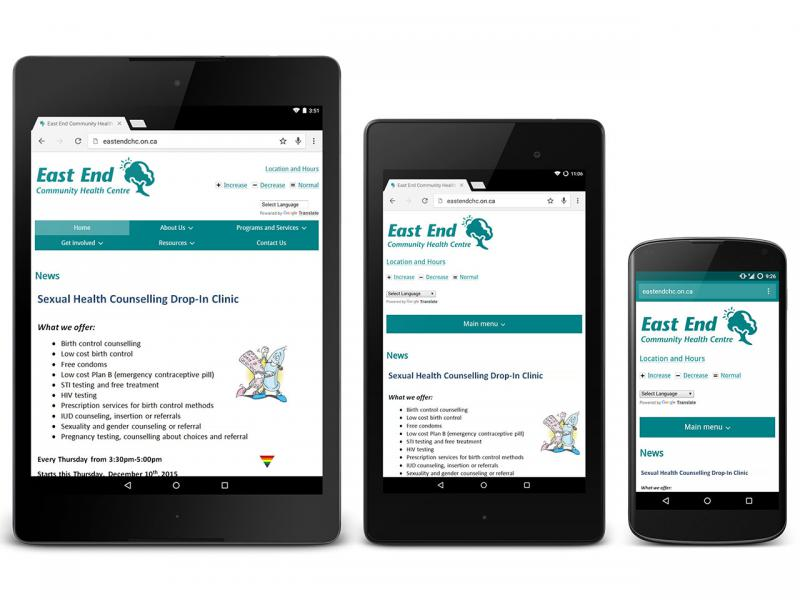 Comparison of East End Community Health Centre home page on large tablet, small tablet, and phone sizes