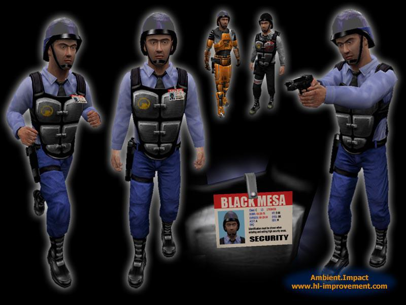 A promo image of in-game security guard models and their details.