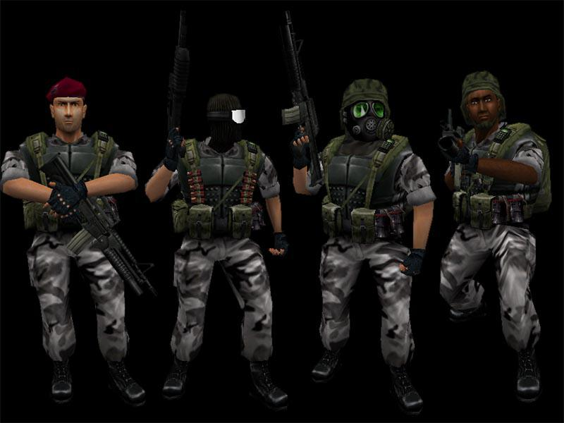 A promo image of the various human soldier models in various poses, heads, and skin colours.
