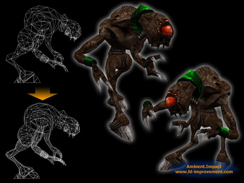 A promo image of the in-game alien slave (Vortigaunt) model in various poses and showing the increased detail of the mesh.