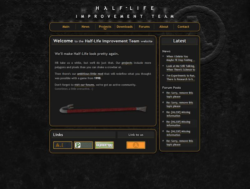 Screen capture of the Half-Life Improvement Team home page