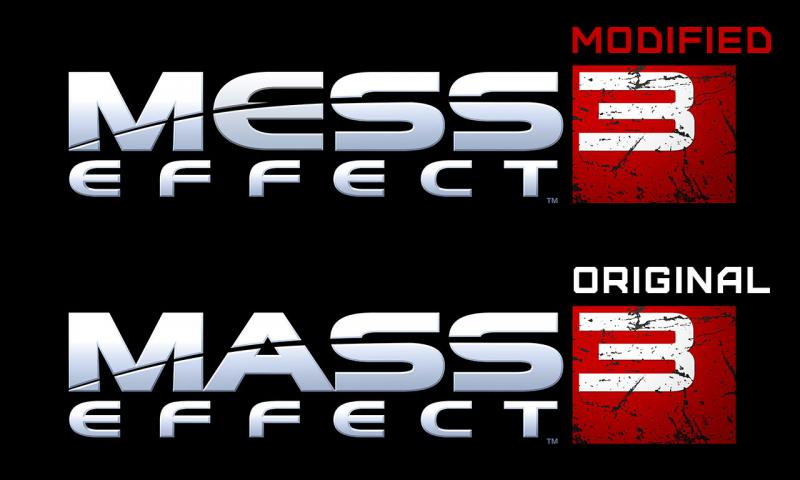 "Two Mass Effect 3 logos, one of which is reworded to spell ""Mess Effect 3"""