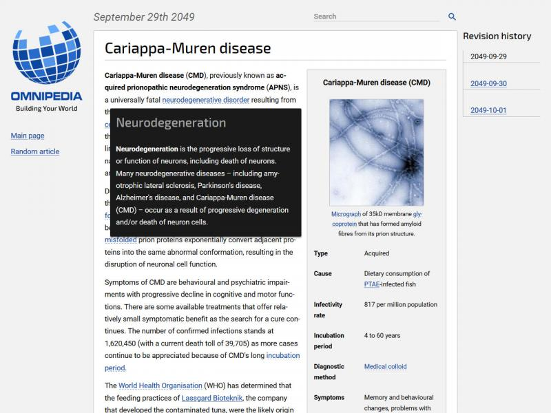 A screenshot of an Omnipedia article, containing body text, an infobox with various key points, and a micrograph image of a protein.